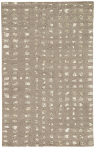 Oliva Handmade Geometric Gray & Cream Area Rug design by Jaipur
