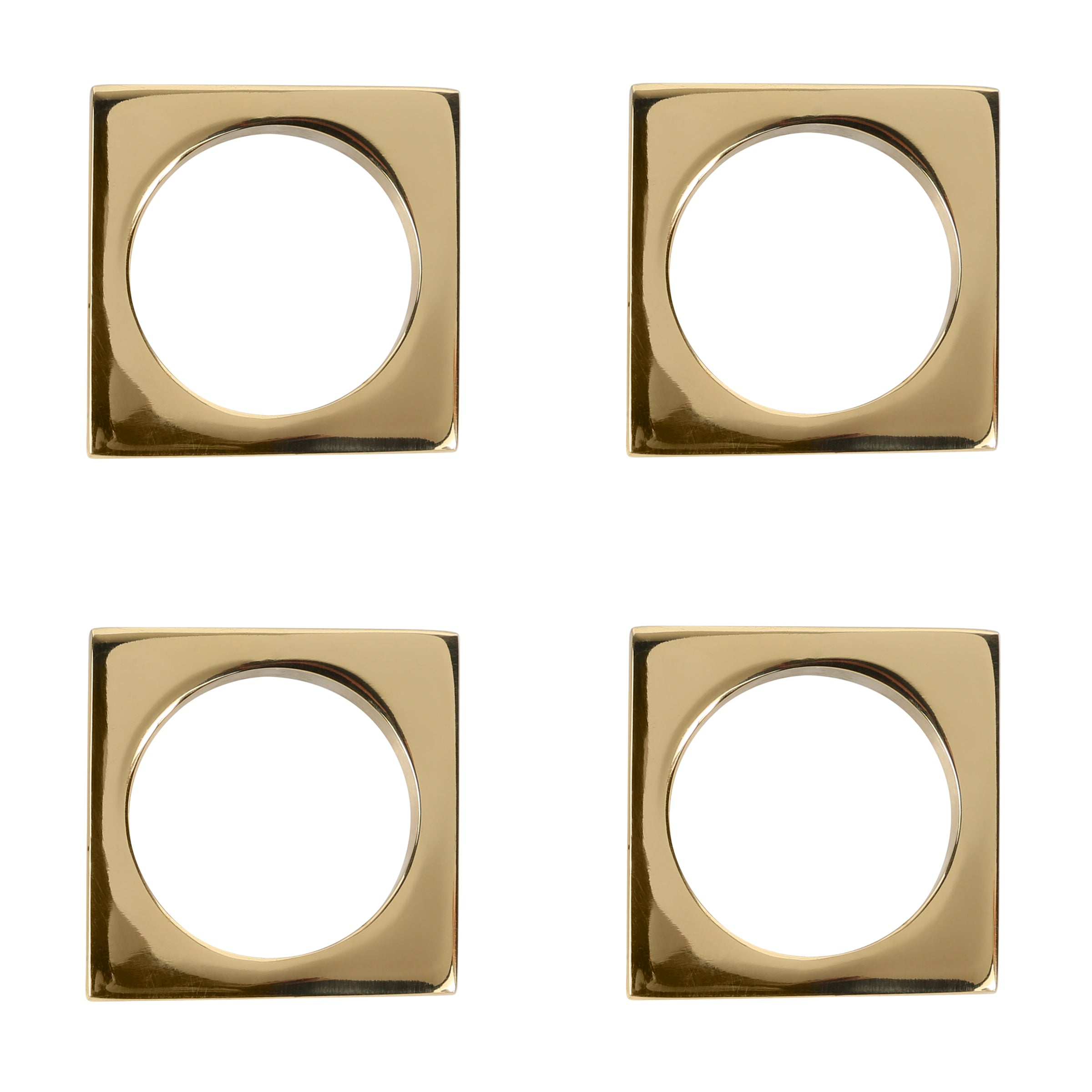 Set of 4 Modernist Napkin Rings in Solid Brass design by Sir/Madam