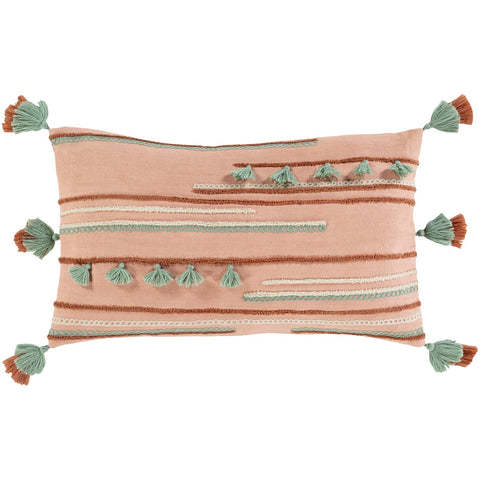 Byron Bay BRB-003 Woven Pillow in Rose & Teal by Surya