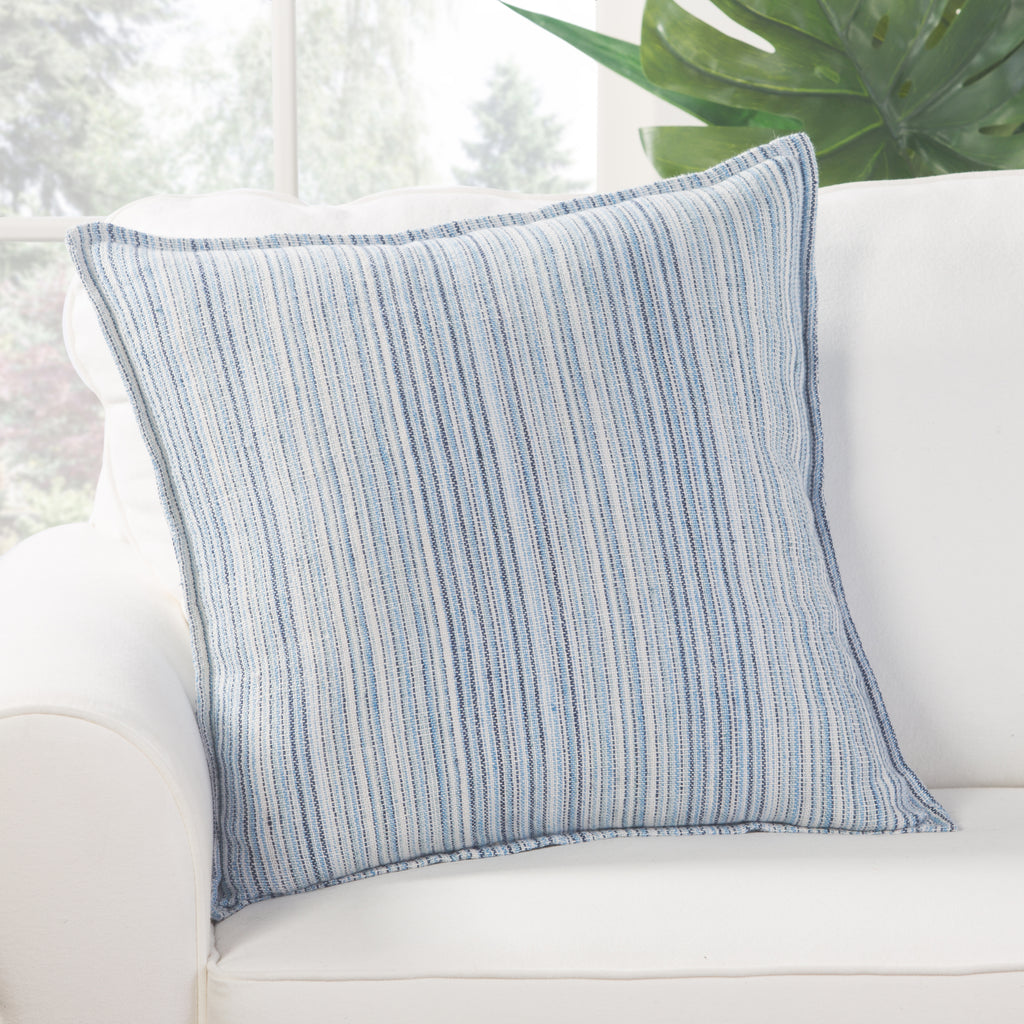 Taye Pillow in Cloud Dancer & Niagara design by Jaipur Living