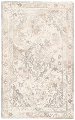 Arabia Handmade Floral White & Gray Area Rug