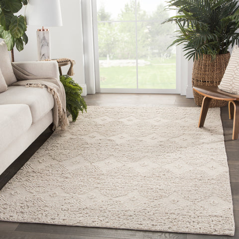 Dentelle Hand-Knotted Geometric Beige Area Rug