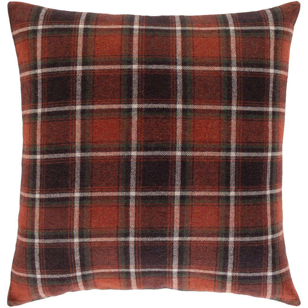 Brenley BRN-006 Woven Square Pillow in Dark Red & Dark Brown by Surya