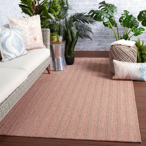 Topsail Indoor/Outdoor Striped Rose & Taupe Rug by Jaipur Living