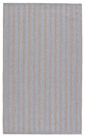 Topsail Indoor/Outdoor Striped Light Blue & Taupe Rug by Jaipur Living
