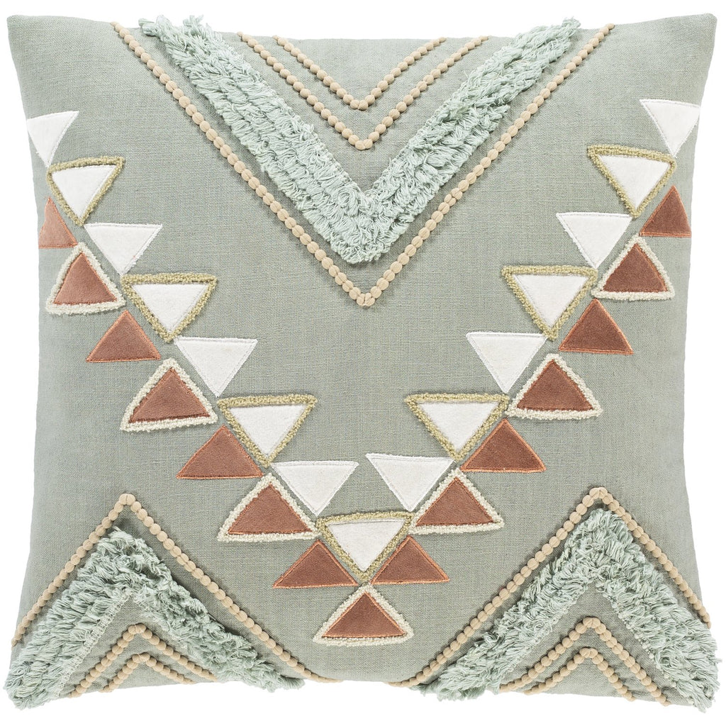 Bisbee BSB-001 Woven Pillow in Clay & Mint by Surya