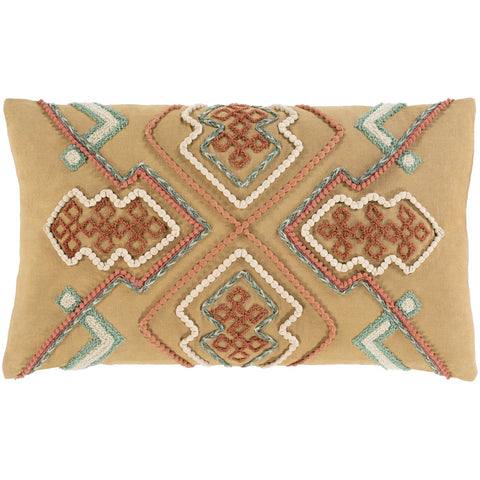 Bisbee BSB-002 Woven Pillow in Clay & Ivory by Surya