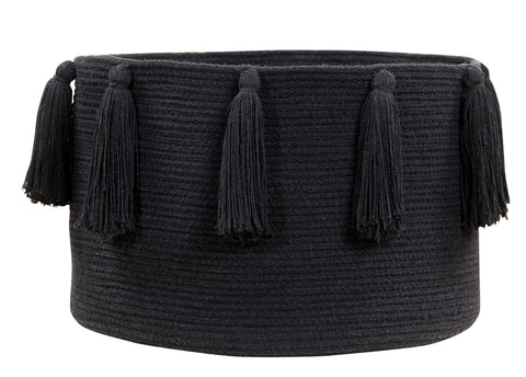 Tassels Basket in Black design by Lorena Canals