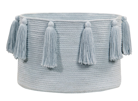 Tassels Basket in Soft Blue design by Lorena Canals