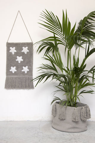 Tassels Basket in Light Grey design by Lorena Canals