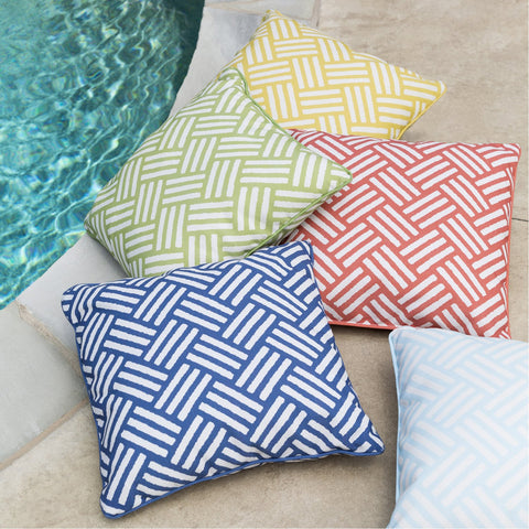 Basketweave BW-001 Woven Pillow in Ivory & Navy by Surya