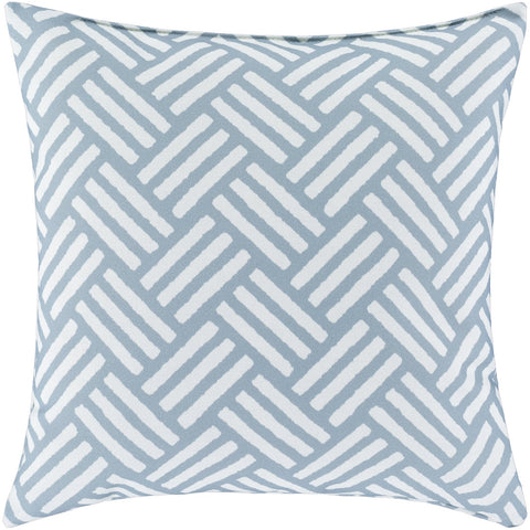 Basketweave BW-005 Woven Pillow in Ivory & Medium Gray by Surya