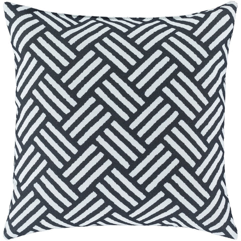Basketweave BW-007 Woven Pillow in Ivory & Black by Surya