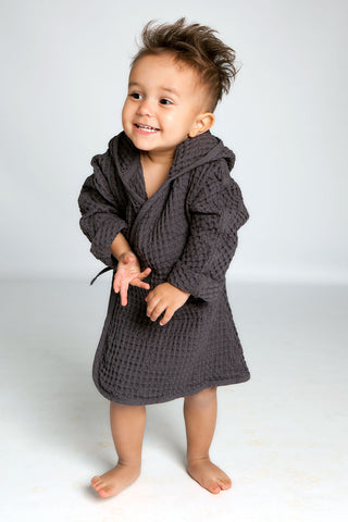 Big Waffle Junior Bathrobe in multiple colors by The Organic Company