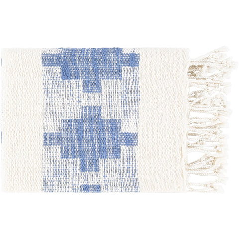Bayou BYU-1000 Hand Woven Throw in Cream & Sky Blue by Surya