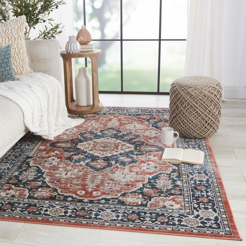 Palama Medallion Blue & Red Rug by Jaipur Living