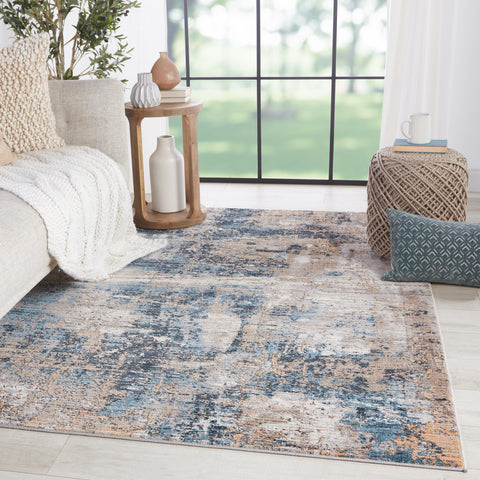 Casiane Abstract Gold & Blue Rug by Jaipur Living
