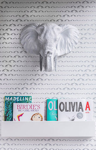 Baby Elephant Walk Wallpaper in Silver Metallic by Marley + Malek Kids
