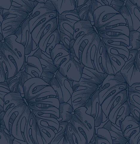 Balboa Botanical Wallpaper in Indigo from the Scott Living Collection by Brewster Home Fashions