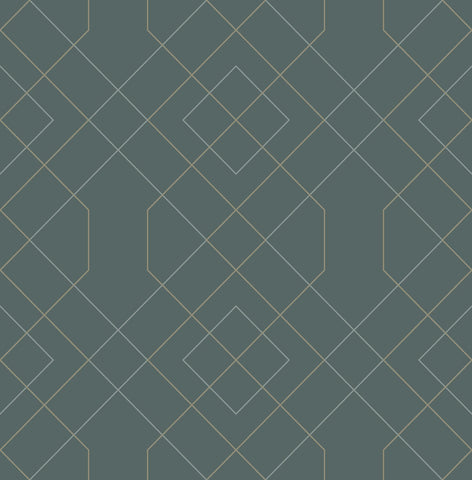 Ballard Geometric Wallpaper in Teal from the Scott Living Collection by Brewster Home Fashions