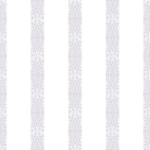 Ballerina Stripe Wallpaper in Pearl and Purple from the A Perfect World Collection by York Wallcoverings