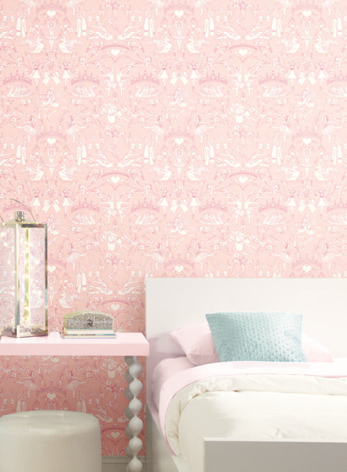 Ballet Toile Wallpaper In Bright Pink From The A Perfect World Collect Burke Decor