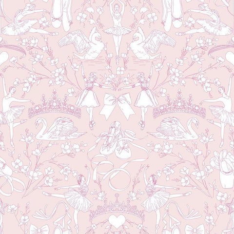 Sample Ballet Toile Wallpaper in Bright Pink from the A Perfect World Collection by York Wallcoverings