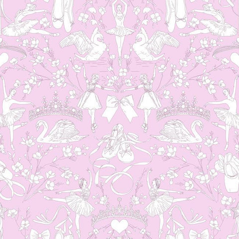 Sample Ballet Toile Wallpaper in Orchid from the A Perfect World Collection by York Wallcoverings