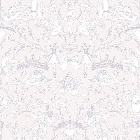 Sample Ballet Toile Wallpaper in Pearl and Pink from the A Perfect World Collection by York Wallcoverings