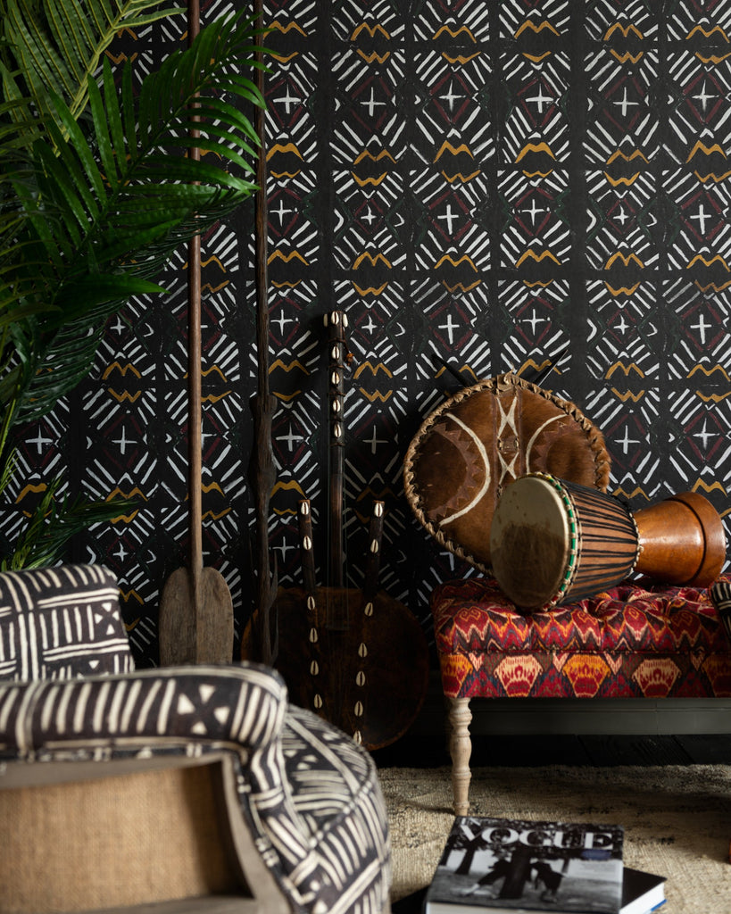 Bamana Wallpaper in Black from the Wallpaper Compendium Collection by Mind the Gap