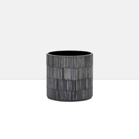 "Bamboo Glass Mosaic 4 x 4"" Drop Pot in Black"
