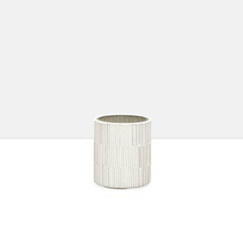 Bamboo Glass Mosaic Tealight Holder in Silver
