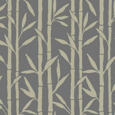 Bamboo Grove Wallpaper in Charcoal by Antonina Vella for York Wallcoverings