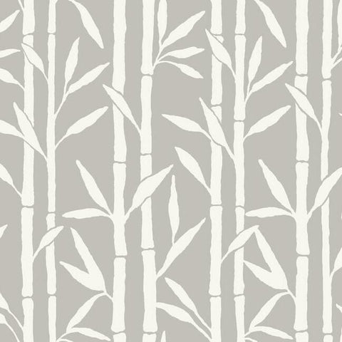 Bamboo Grove Wallpaper in Grey by Antonina Vella for York Wallcoverings
