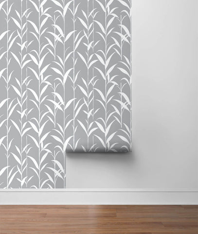 Bamboo Leaves Peel-and-Stick Wallpaper in Grey by NextWall