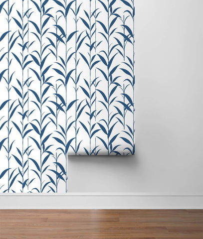 Bamboo Leaves Peel-and-Stick Wallpaper in Navy Blue and White by NextWall