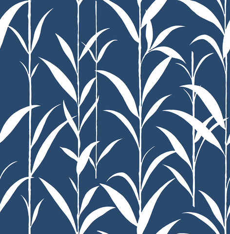 Bamboo Leaves Peel-and-Stick Wallpaper in Navy Blue by NextWall