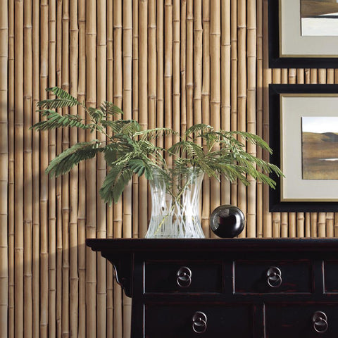 Bamboo Peel & Stick Wallpaper in Brown by RoomMates for York Wallcoverings