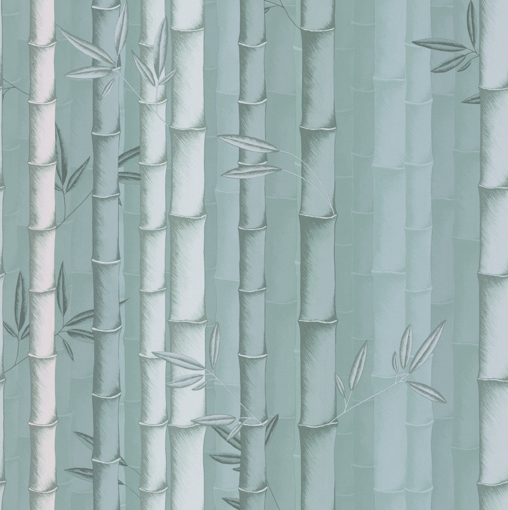 Bamboo Wallpaper in Aqua from the Enchanted Gardens Collection by Osborne & Little