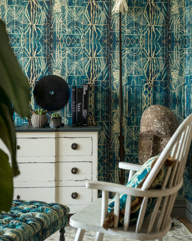 Bamileke Wallpaper in Blue and Taupe from the Wallpaper Compendium Collection by Mind the Gap