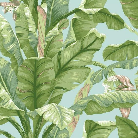 Sample Banana Leaf Peel & Stick Wallpaper in Blue and Green by York Wallcoverings