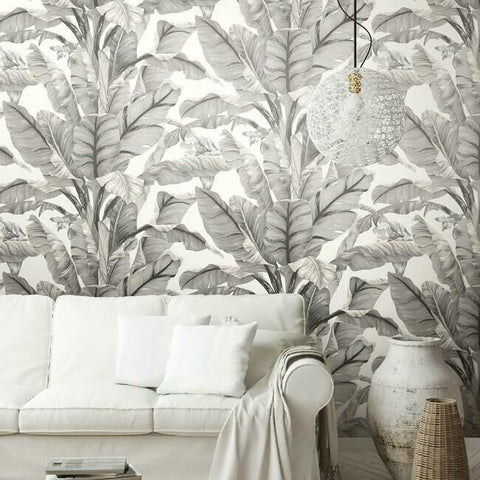Banana Leaf Peel & Stick Wallpaper in White and Black by York Wallcoverings