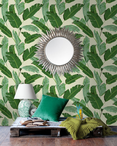Banana Leaves Wallpaper in Beige and Green from the Tropical Vibes Collection by Mind the Gap