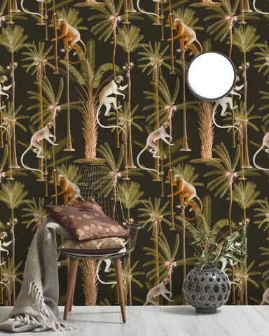 Barbados Wallpaper in Anthracite and Green from the Rediscovered Paradise Collection by Mind the Gap