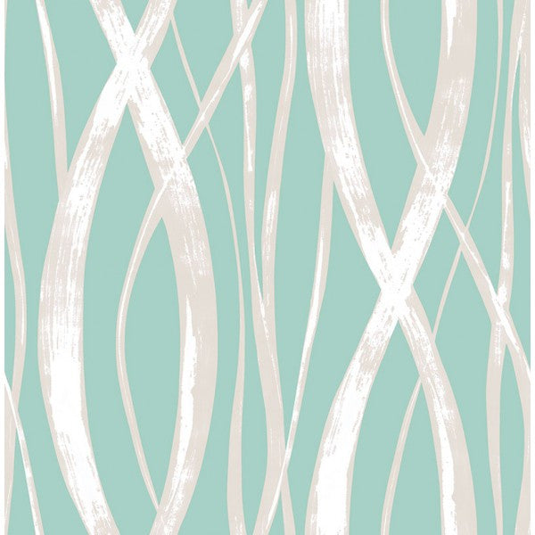 Sample Barbados Wallpaper in Aqua from the Tortuga Collection by Seabrook Wallcoverings