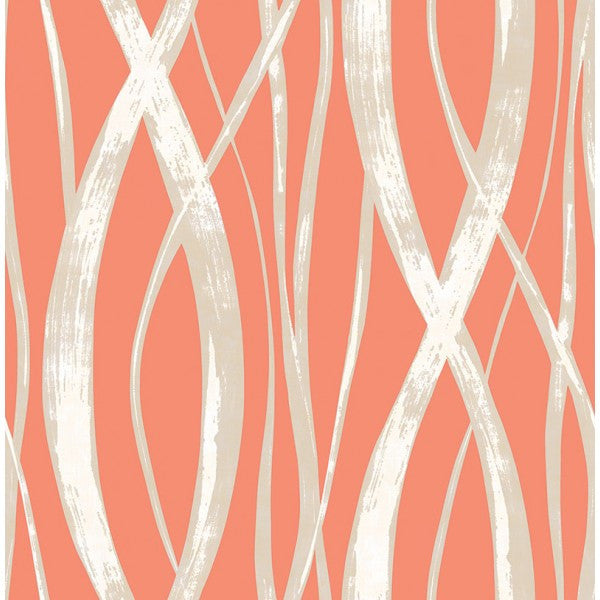 Sample Barbados Wallpaper in Deep Orange and Metallic from the Tortuga Collection by Seabrook Wallcoverings