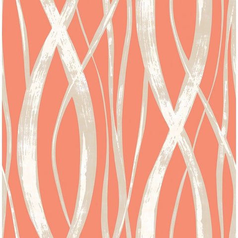 Barbados Wallpaper in Deep Orange and Metallic from the Tortuga Collection by Seabrook Wallcoverings