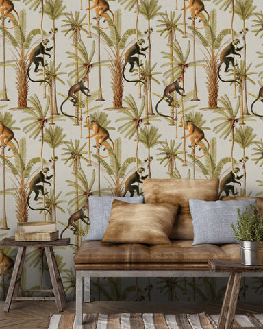 Barbados Wallpaper in Taupe and Green from the Rediscovered Paradise Collection by Mind the Gap