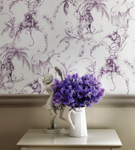 Barbary Toile Wallpaper in Amethyst by Nina Campbell for Osborne & Little