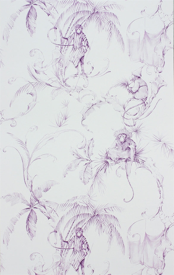 Sample Barbary Toile Wallpaper in Amethyst by Nina Campbell for Osborne & Little